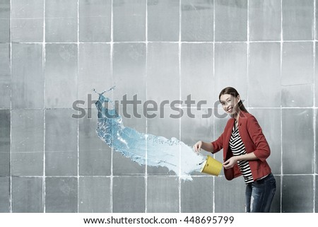 Girl pouring water from bucket . Mixed media
