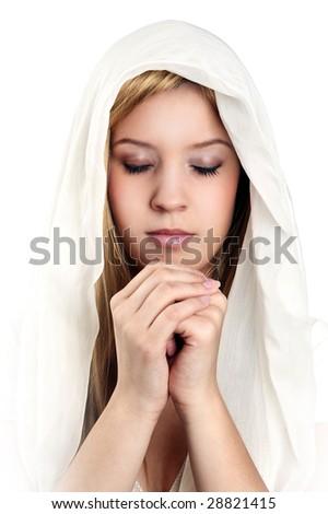 girl praying - stock photo
