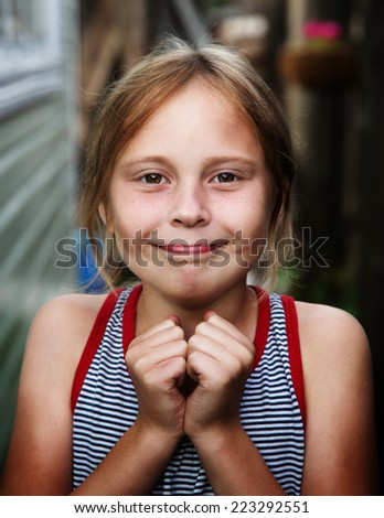 Girl praying begging God for forgiveness. - stock photo