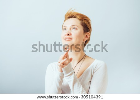 girl prays - stock photo