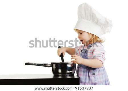 girl prepares food - stock photo