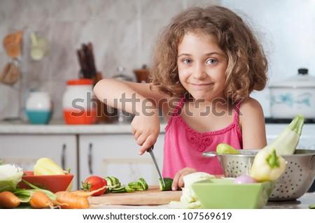 girl preparing healthy food vegetable salad - stock photo