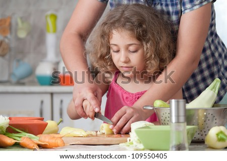 girl preparing healthy food vegetable salad - stock photo