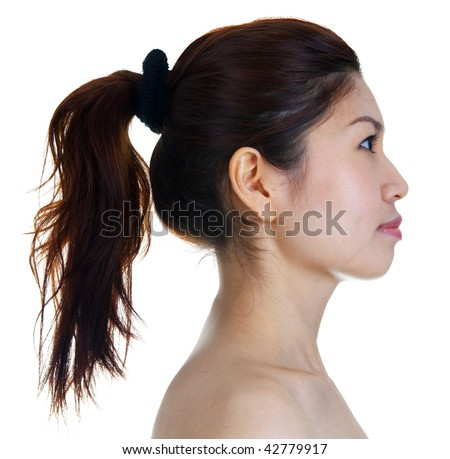 Girl profile. Profile view of Asian Beauty. - stock photo