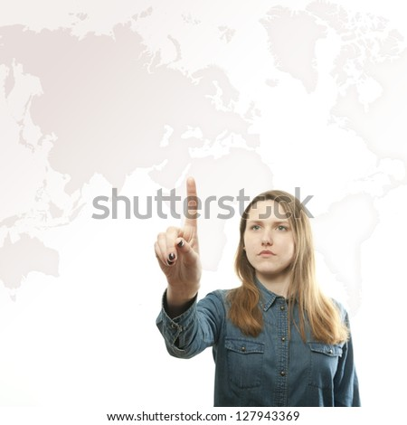 Girl pushing the virtual button - stock photo