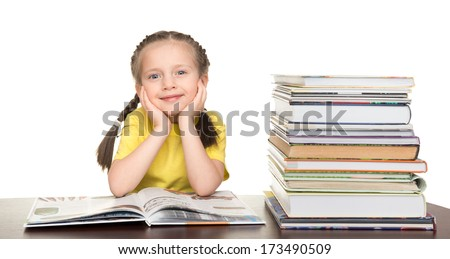 girl read book on white