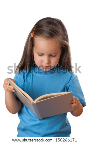 Girl reading a book. Isolated