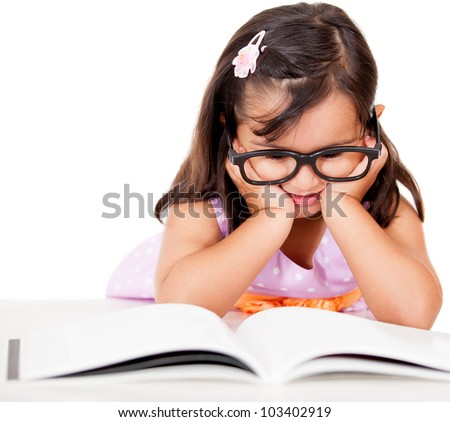 Girl reading a book - isolated over a white background - stock photo