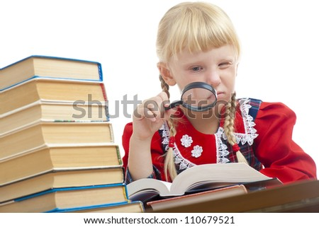 girl reading with loupe