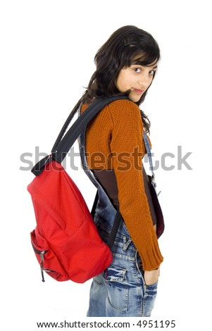 girl ready for school isolated on white - stock photo