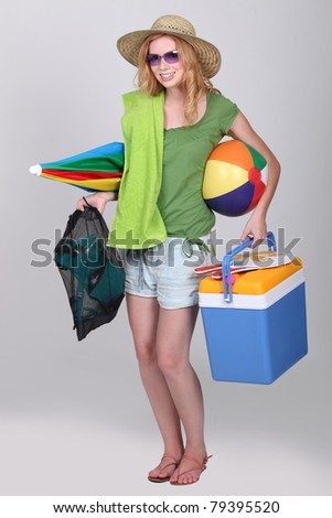 Girl ready for the beach - stock photo