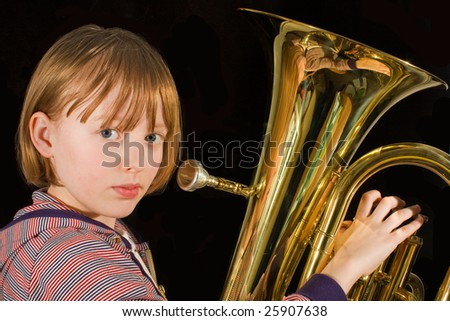 girl ready to give a blast on the euphonium