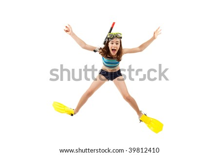 Girl ready to swim and dive isolated on white background - stock photo