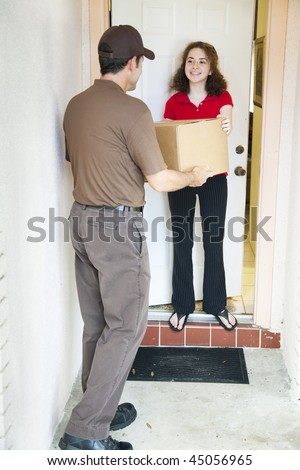 Girl receiving a package from a delivery man.