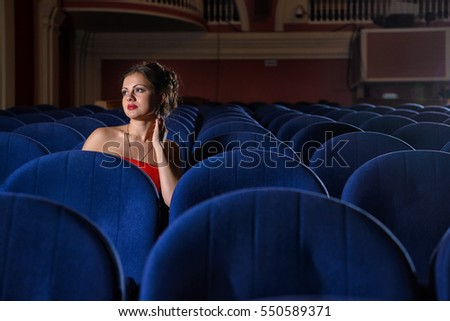 girl, red, dress, blue, theater, cinema, armchair