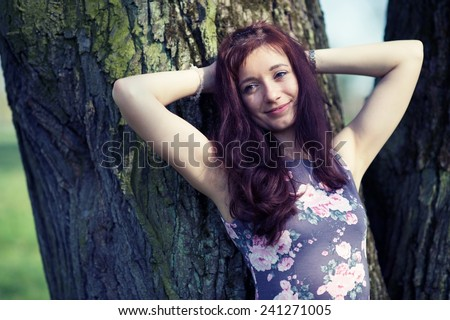 Girl relax in a park - stock photo