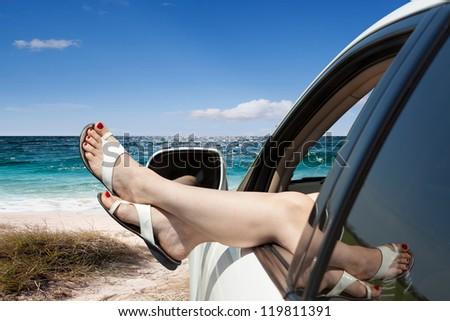 Girl resting in a car broke down - stock photo