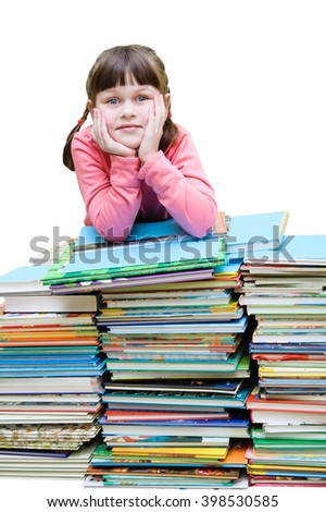 girl rests on a pile of books on a white background