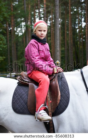Girl rider on a white horse on forest background