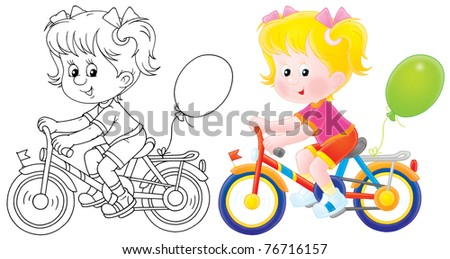 Girl riding a bicycle, color clip-art and black-and-white outline illustration, on a white background - stock photo