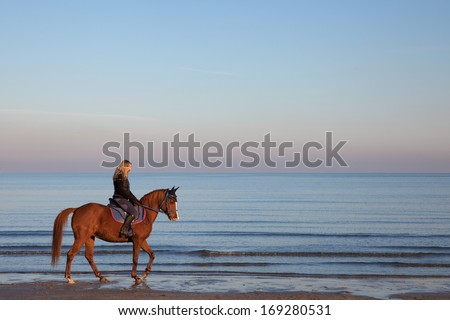 girl riding a horse on the beach - stock photo