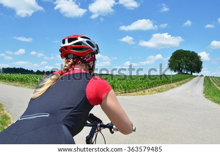 Girl riding a mountain bike - stock photo