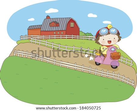 Girl riding a scooter at a farm