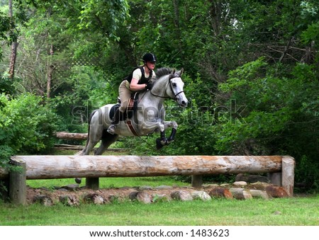 girl riding horse and jumping