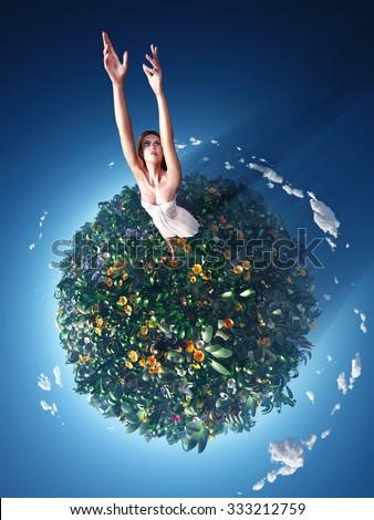 girl running around the planet - stock photo