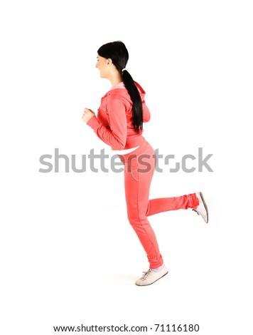 Girl running, isolated on white - stock photo
