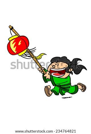 Girl Running With Chinese Lantern   - stock photo