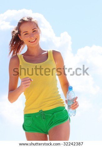 girl runs - stock photo