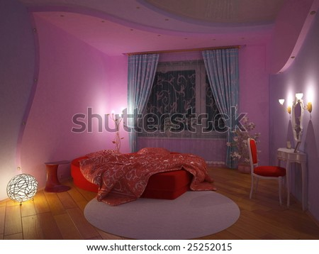 girl`s bedroom interior (3d rendering) - stock photo