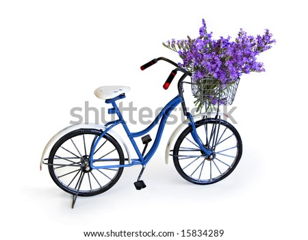 girl's bike with basket filled with flowers