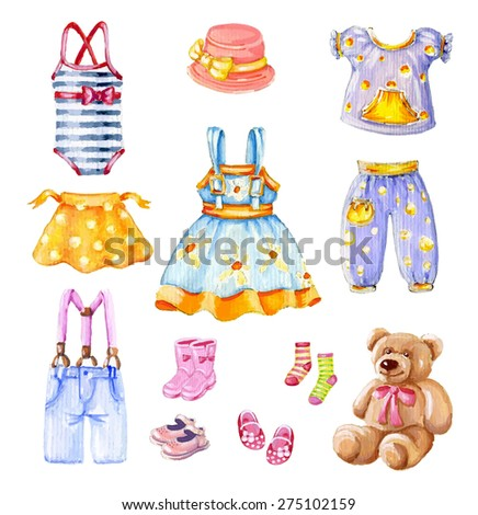 Girl's clothes set - stock photo