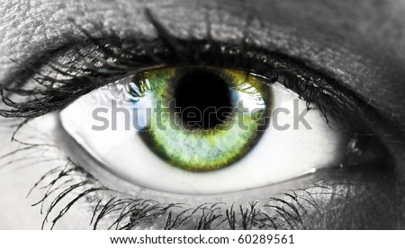 girl's green eye close up - stock photo