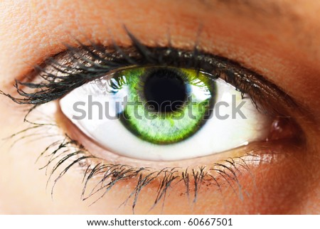 girl's green eye close up - stock photo