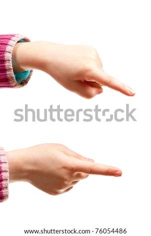 Girl's hand isolated on white background. Studio shot - stock photo
