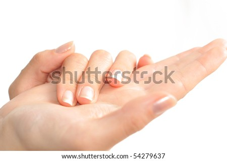 Girl's hands with perfect nail manicure isolated on white
