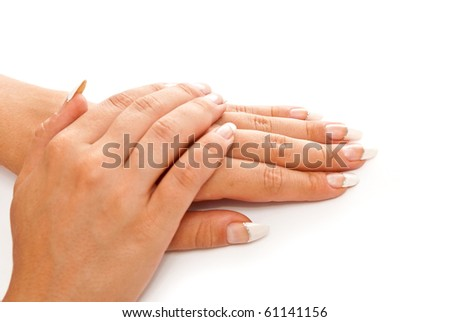 Girl's hands with perfect nail manicure on white background