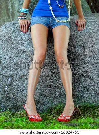 Girl's legs - stock photo