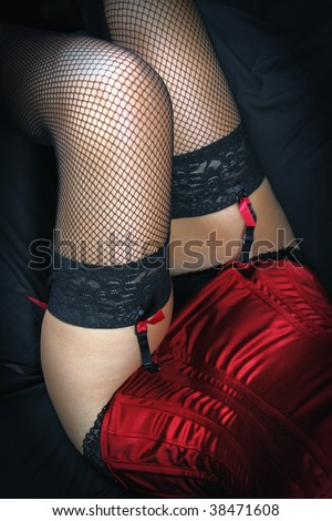 girl's legs in sexy black fishnet stockings - stock photo
