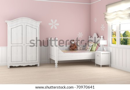 Girl's room in pink walls with white bed and wardrobe - stock photo