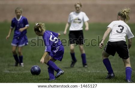 Girl's Soccer Game - stock photo