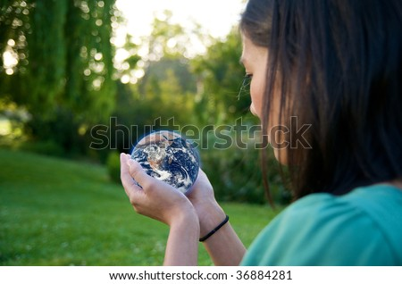 Girl save Earth Environment - stock photo