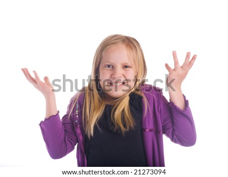 "Girl ""say what"" shrugging her shoulders - stock photo"