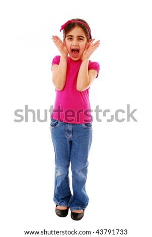 Girl screaming isolated on white