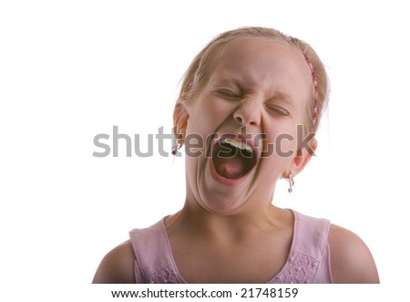 Girl screaming on a white background - stock photo