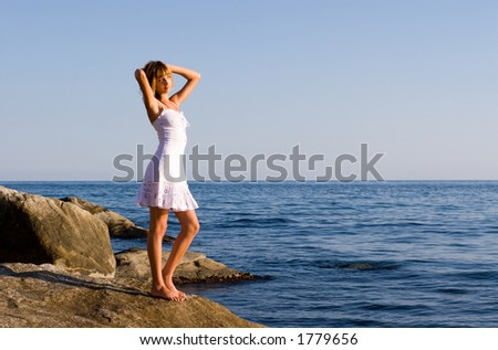 Girl.Sea. Evening.Summer.