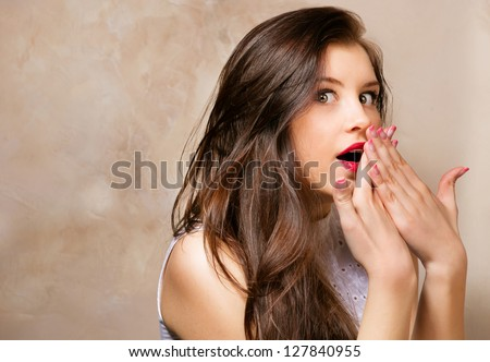 girl secret - stock photo